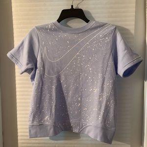 Girls Nike short sleeve sweatshirt lavender new